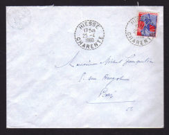 16 - CHARENTE / Cachet Recette Ditribution HIESSE / Enveloppe 1960 - Marcophilie (Lettres)