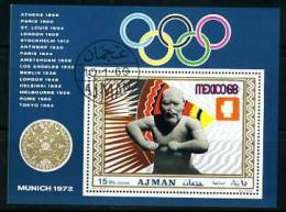 AJMAN  1969 Mexico Olympics Souvenir Sheet Perf. Michel Block 98A - Summer 1968: Mexico City