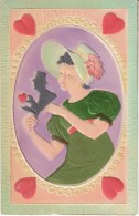 Valentines Day Romance Woman Holds Man Silhouette Wears 'Silk' Dress, C1910s Vintage Postcard - Valentine's Day