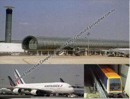 World Airport - France - Charles De Gaulle Airport + Air France Airbus A380 + Inter Terminal Railway Train - Aerodrome