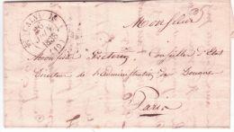 1838- Lettre De CALVI ( Corse ) Cad T12  En Franchise ( Sans Taxe )  Au Directeur Des Douanes à Paris - 1801-1848: Précurseurs XIX