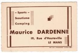 MAURICE DARDENNE 19 RUE D'HAUTEVILLE LE MANS SPORTS SCOUTISME CAMPING - Cartes De Visite