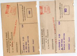 MARCOPHILIE  TOULOUSE  R.P 20.00 /  25.00 1959/1958 TITRE DE RETRAITE - EMA (Empreintes Machines à Affranchir)