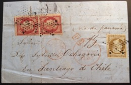France Lettre 1853 AFFR. MIXTE CÉRÉS + PRESIDENCE De Paris > SANTIAGO CHILE Via Panama, RR MAURY 15000€ (cover) - 1849-1850 Cérès