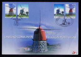 Azores + Belgique Kortrijk Sheet Fdc Set(2) 2002 Moulins Windmills Molinos Architecture Gc1546 - Molens