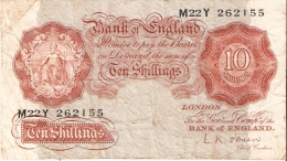 BILLETE DE REINO UNIDO DE 10 SHILLINGS   (BANKNOTE) - …-1952 : Antes Elizabeth II
