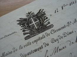 1816 - Maire De CLERMONT FERRAND (Puy De Dome) - AUTOGRAPHE - Autógrafos