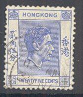 HONG KONG, 1938 25c Blue Very Fine Used - Hong Kong (...-1997)