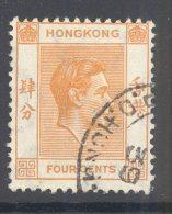 HONG KONG, 1938 4c (P14) Very Fine Used - Hong Kong (...-1997)
