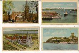 Quebec-montreal-lot De 4 Cartes-chateau - Porte St Louis-montréal Harbour-basilique- 4 Cpa - Quebec
