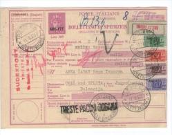 TRIESTE - ZONA A   AMG FTT  BOLLETTINO DI SPEDIZIONE 1953 - Storia Postale