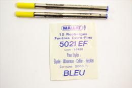 Recharge De Stylo MALLAT 5021 EF Code 20625 Pour Stylos Elysée, Waterman, Colibri, Hechter Ecriture Bleu 2000m - Schrijfgerief