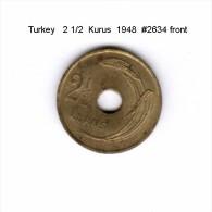 TURKEY    2 1/2  KURUS  1948   (KM # 885) - Turkey