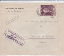 PORTUGAL - 1941 - ENVELOPPE Du CONSULAT D´ESPAGNE à VALENCA DO MINHO Avec CENSURE De PONTEVEDRA Pour JEREZ - 1931-Today: 2nd Rep - ... Juan Carlos I