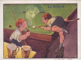 PARIS / CARTE PUBLICITAIRE GRANDS MAGASINS DU LOUVRE - LE BILLARD - Advertising