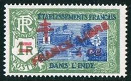 INDE ßurcharge «Croix De Lorraine Et FRANCE LIBRE» 4 Ca Sur 1R  Maury  250  **  Signé - India (1892-1954)