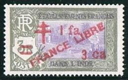 INDE ßurcharge «Croix De Lorraine Et FRANCE LIBRE» 1 Fa 3 Ca Sur 3R   Maury  256  ** - Ungebraucht