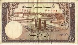 PAKISTAN OLD 10 RUPEES SHALIMAR GARGEN SIGNATURE IS SHUJAT ALI HASNI 1953  EF - Pakistan