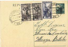J493) ITALIA CARTOLINA POSTALE DEMOCRATICA 15 LIRE DEL 1949 VIAGGIATA CON ANNULLO MESSAGGERE - Postwaardestukken