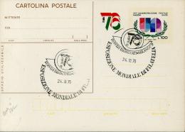 1977 INTERO  POSTALE 25° ONU 100 L ANNULLO ESPOSIZIONE MONDIALE FILATELIA MILANO - Postwaardestukken