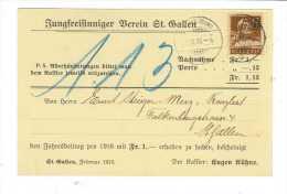 Suisse // Carte Pour St.Gallen - Briefe U. Dokumente
