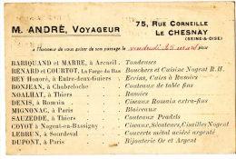 LE CHESNAY (78) Carte Postale Avis De Passage Publicitaire Voyageur De Commerce M André - Le Chesnay