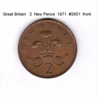 GREAT BRITAIN    2  NEW  PENCE  1971   (KM # 916) - 1971-… : Monete Decimali