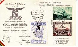 Belgium  GORDON  BENNETT  BALOON  RACE 1939 CANCELLED DUE TO WAR - Airmail