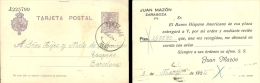 """Tarjeta De Alfonso XIII Privatizada """"Juan Mazón"""" De Zaragoza, Edifil-50c. - Entiers Postaux"""