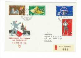 Suisse // Lettre Recommandée Pour Nyon, Avec Cachet 1er Jour De Berne Du 15.02.1955 - Svizzera
