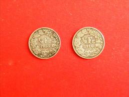 Vend Lot De Deux Monnaies Suisse ; 1/2 Franc Suisse 1906B Et 1916B / TTB+ /Argent - Suisse