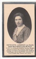 Doodsprentje Angele Marie Therese Leonie DE WULF Dochter Van A. En C. Van Der Haegen Munte 1906 Gentbrugge 1930 (foto) - Andachtsbilder