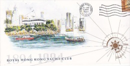 Hong Kong 1994  Centenary Royal Yacht Club Souvenir Cover - Otros
