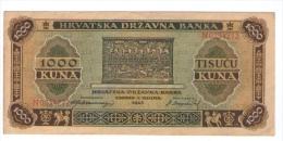 HRVATSKA CROATIA  1000 KUNA 1943 BANKNOTE - Croatie