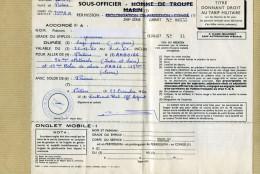 Gendarmerie VP - Titre De Permission Gendarme Délivré Par 33ème R A POITIERS - Visa Gendarmerie Au Verso - Police