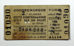 Billet  Contremarque De Billet Collectif Coll Schnabel - Chemins De Fer