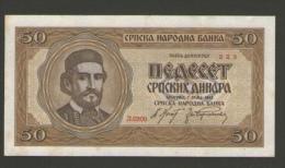 SERBIA 50  DINARA 1942 BANKNOTE - Serbie