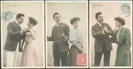 1711-France-Lot 3 CPA Couple-Fiances,Maries, Divorces-Photo JLC-Ref 1089 - Noces