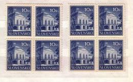 Slovaquie / Slovakia 1940 - Residence Of The President, Bratislava Michel Nr.70 (x+y) 2v. – MNH     Block Of Four - Neufs