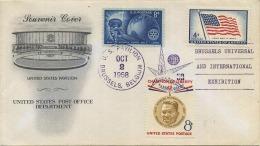 Expositie - Exposition 1958 : United States Post Office Department : Souvenir Cover : Pavillion USA - Belgique