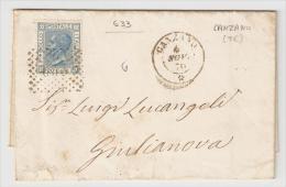 Teramo - Canzano - Destinazione Teramo - Annullo Numerale Punti 633 - Regno D´Italia - 1861-78 Vittorio Emanuele II