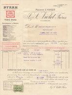 Facture 1928 Violet Freres Byrrh Vins Fins Bruxelles Vers Gand Saffelaere - Alimentaire