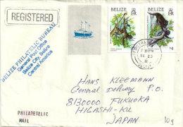 Belle Lettre Recommandée De Belize Adressée Au Japon, Deux Photos Recto-verso - Belize (1973-...)