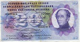 SWITZERLAND-CIRCULATED PAPER MONEY 20 FRANCS-1974 - Svizzera
