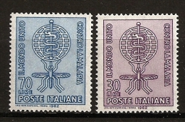 Italie Italia 1962 N° 876 / 7 ** Santé, Paludisme, Malaria, Médecine, Insecte, Moustique, Anophèle, Serpent, Caducé - 1946-.. République