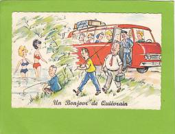 CPA - Un Bonjour De QUIEVRAIN - Carte Illustrée  Pêche Et  Autobus - Quiévrain