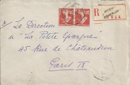 2444 NICE GRIMALDI A Lettre Recommandée 30 C Semeuse 160 Ob 27 3 22 Hexagone Recette Auxiliaire Urbaine Lautier D4 - Postmark Collection (Covers)