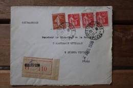 Enveloppe Recommandée Affranchissement Type Paix Et Type Semeuse Neuilly Sur Seine - Marcophilie (Lettres)