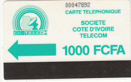 IVORY COAST - CI Telcom Logo 1000 FCFA(normal 0), Second Issue(no Notch), Used - Ivory Coast
