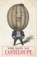 Fruit Person Fantasy 'Who Says We Canteloupe' Humor Pun, Melon, C1910s Vintage Postcard - Illustratori & Fotografie